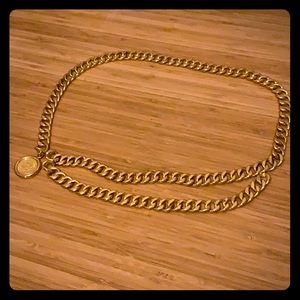 CHANEL gold metal link belt